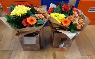 September 2020 Not one but two beautiful, autumnal bouquets from Mr F.  Thanks very much, they really made us smile 😀